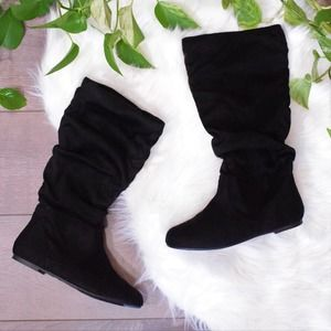 Journee Collection Classic Black Slouch Boot 7.5